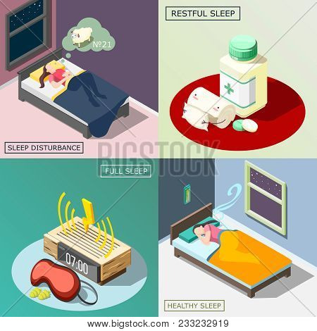 Sleep Disturbance, Medical Remedy, Objects For Good Night Rest, Healthy Dream Isometric Design Conce