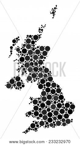 United Kingdom Map Mosaic Of Dots In Different Sizes And Color Tones. Circle Dots Are Composed Into