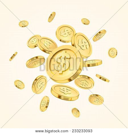 Realistic Gold Coin Explosion Or Splash On White Background. Rain Of Golden Coins. Falling Or Flying