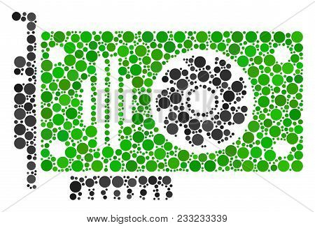 Video Gpu Card Collage Of Round Dots In Various Sizes And Color Tones. Circle Elements Are Composed