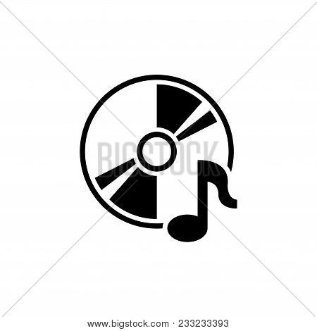 Music Compact Disk. Cd Or Dvd. Flat Vector Icon. Simple Black Symbol On White Background