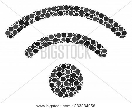 Wi-fi Mosaic Of Round Dots In Variable Sizes And Color Tones. Dots Are Grouped Into Wi-fi Vector Ill