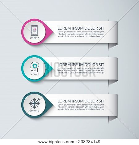 Infographic Design Template. Vector Concept For Business Infographics With 3 Steps, Options, Parts.