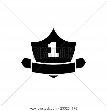Guarantee Shield. Flat Vector Icon. Simple Black Symbol On White Background