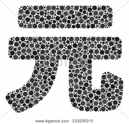 Yuan Renminbi Collage Of Round Dots In Different Sizes And Color Tones. Circle Dots Are Grouped Into