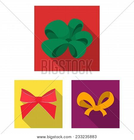 Multicolored Bows Flat Icons In Set Collection For Design.bow For Decoration Vector Symbol Stock  Il