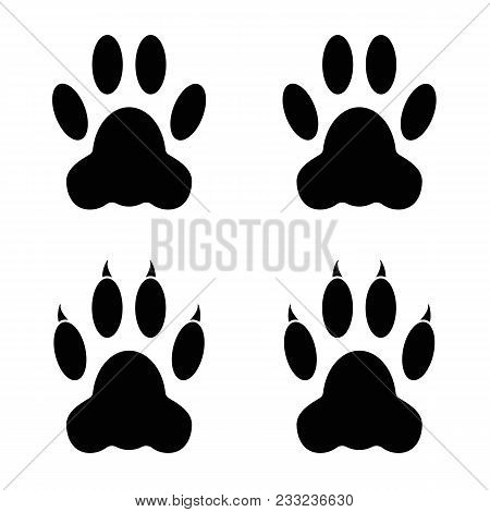 Dog / Cat Paw Prints. Pads Are Paws With Claws And Without. Black On A White Background.