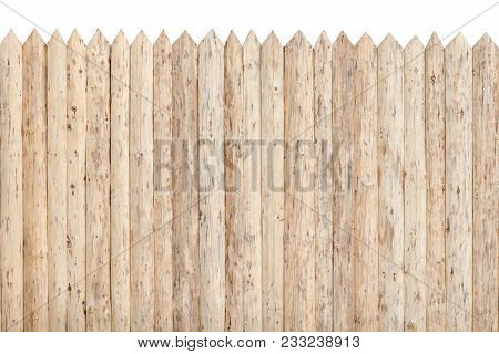 Fence From The Stockade. Untreated Wood. Isolate