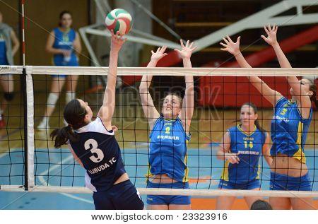 KAPOSVAR, HUNGARY - APRIL 24: Zsofia Harmath (blue 3) in action at the Hungarian NB I. League woman volleyball game Kaposvar (blue) vs Ujbuda (black), April 24, 2011 in Kaposvar, Hungary.