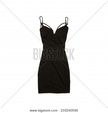 Little Black Dress. Fashionable Concept. Isolated. White Background