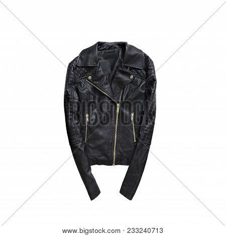 Black Leather Jacket.  Fashionable Concept. Isolated. White Background
