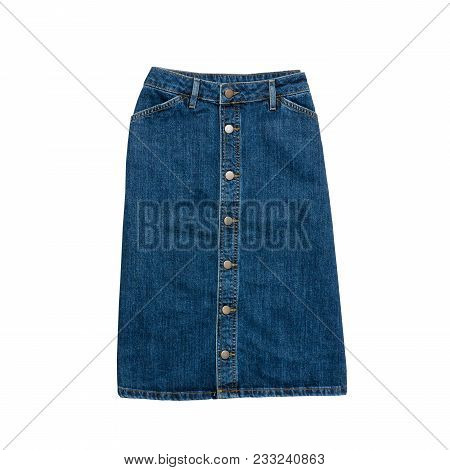 Denim Skirt.  Fashionable Concept. Isolated. White Background