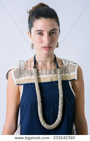 Beautiful Woman Portrait With A  Recycled Paper Necklace