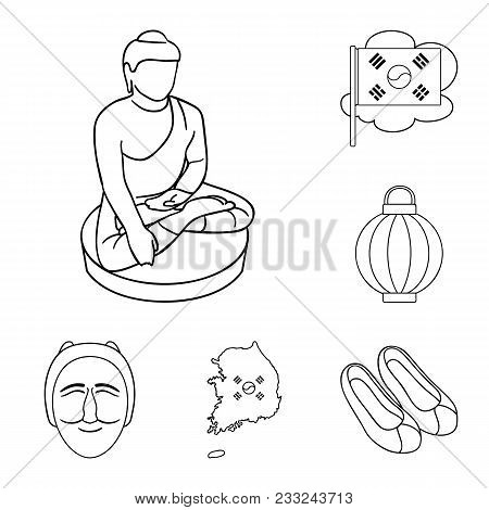 Country South Korea Outline Icons In Set Collection For Design.travel And Attraction Vector Symbol S