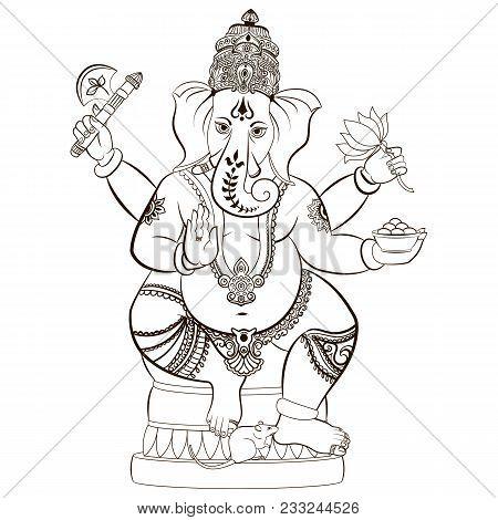 Hindu Lord Ganesha. Ornament God Ganesha. Vector Illustration For Any Other Kind Of Design, Birthday