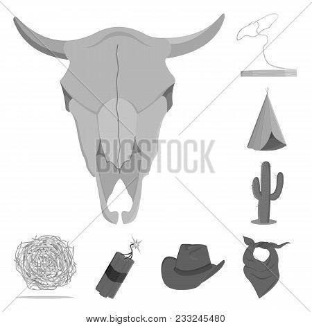 Attributes Of The Wild West Monochrome Icons In Set Collection For Design.texas And America Vector S
