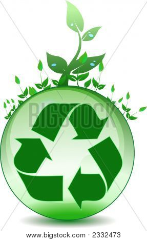 Recycling symbol on top of a green globe with plants growing poster