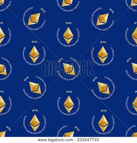 Crypto-currency Ethereum. Symbol Of Digital Currency. Crypto Currency Seamless Pattern. Background O