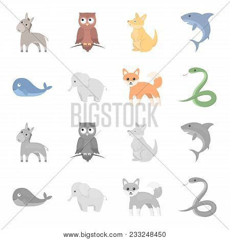 Whale, Elephant, Snake, Fox.animal Set Collection Icons In Cartoon, Monochrome Style Vector Symbol S