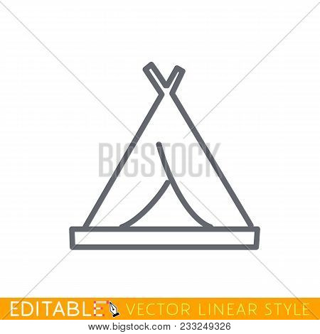 Tourist Tent Icon Flat. Editable Line Sketch Icon. Stock Vector Illustration.