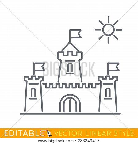 Medieval Knight Citadel With Fortified Wall And Towers Icon. Doodle Illustration Of Medieval Castle