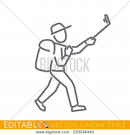 Selfie Tourist Stick Figure. Editable Line Sketch Icon. Stock Vector Illustration.