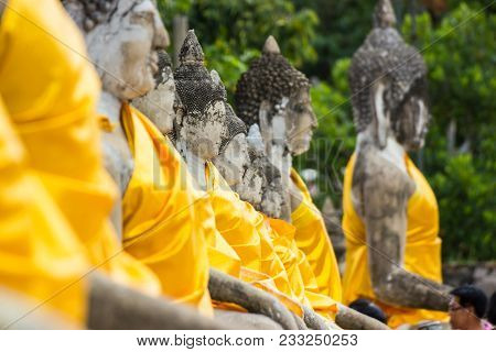 The Statue Old Buddha Wat Yai Chai Mongkhon Is A Buddhist Temple In Ayutthaya, The Landmarks In Ayut