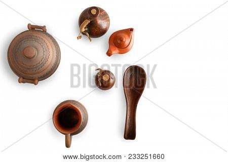 Ceramic crockery isolated on white background. Top view. Copy space