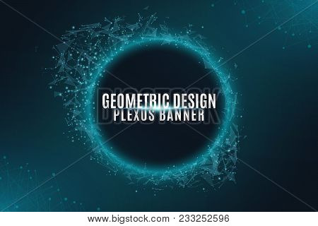 Geometric Plexus Banner Of Flying Geometric Particles On A Black Background. Connected Triangular El