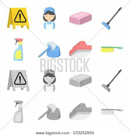 Cleaning And Maid Cartoon, Monochrome Icons In Set Collection For Design. Equipment For Cleaning Vec