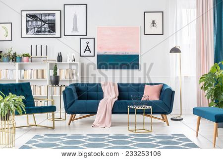 Pink And Blue Elegant Interior