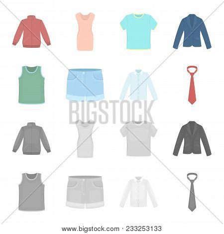 Shirt With Long Sleeves, Shorts, T-shirt, Tie.clothing Set Collection Icons In Cartoon, Monochrome S