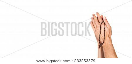 Man Praying Hands Pray To God With Rosary Isolated On White Background, Religion Concept