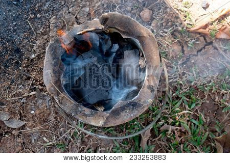 Thai Traditional Stove With Charcoal. Natural Heat Energy Source Concept.