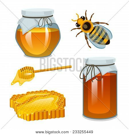 Honey In Jar, Bee And Hive, Spoon And Honeycomb, Hive And Apiary. Natural Farm Product. Beekeeping O