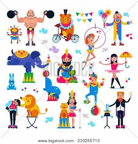 Circus People Vector Acrobat Or Clown And Trained Animals Characters In Circus-tent Illustration Set