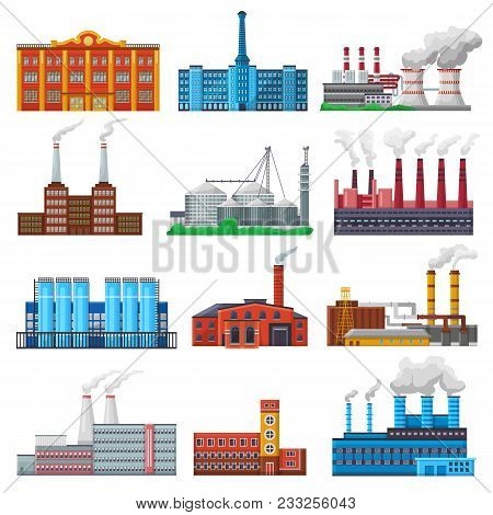 Factory Vector Industrial Building And Industry Or Manufacture With Engineering Power Illustration S