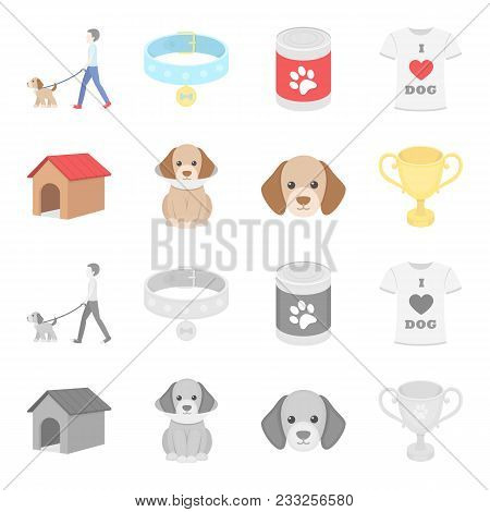 Dog House, Protective Collar, Dog Muzzle, Cup. Dog Set Collection Icons In Cartoon, Monochrome Style