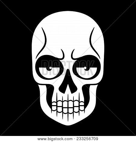 Vector Black And White Illustration Of Human Skull With A Lower Jaw Hand Drawn Style.