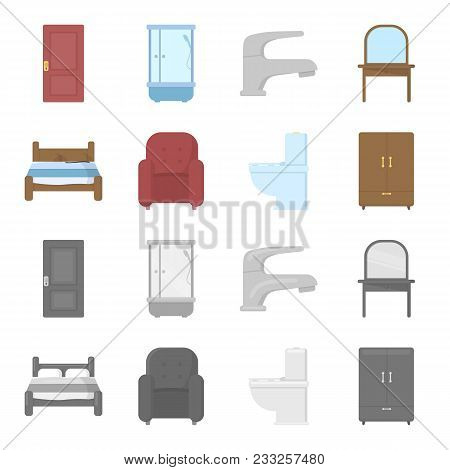 A Bed, An Armchair, A Toilet, A Wardrobe.furniturefurniture Set Collection Icons In Cartoon, Monochr
