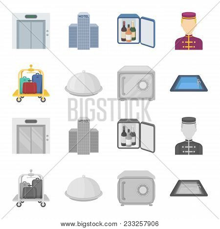 Trolley With Luggage, Safe, Swimming Pool, Clutch.hotel Set Collection Icons In Cartoon, Monochrome