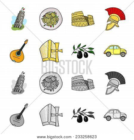 Mandolin, Papa, Olive, Retro Auto.italy Country Set Collection Icons In Cartoon, Monochrome Style Ve