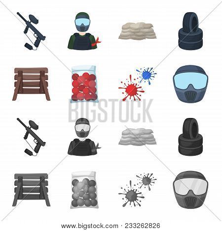 Wooden Barricade, Protective Mask And Other Accessories. Paintball Single Icon In Cartoon, Monochrom