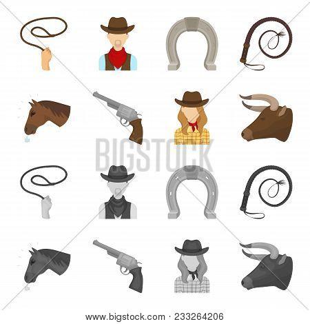 Head Of A Horse, A Bull Head, A Revolver, A Cowboy Girl. Rodeo Set Collection Icons In Cartoon, Mono