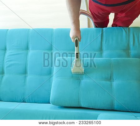 Man Vacuuming Sofa View From Above Using, Electrical, Servant