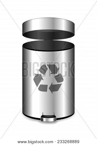 Metal Office Garbage Bin. Realistic Vector Illustration For Your Design.