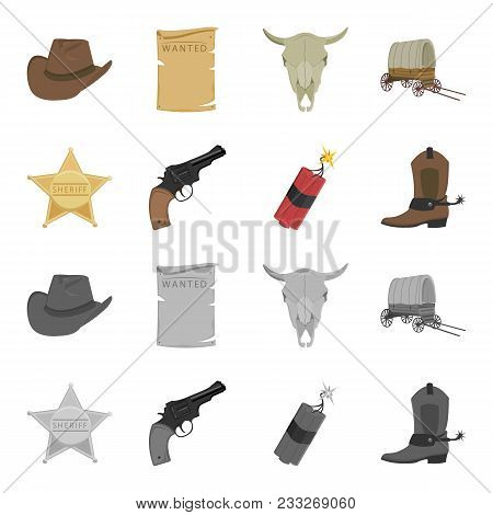Star sheriff, Colt, dynamite, cowboy boot. Wild West set collection icons in cartoon, monochrome style vector symbol stock illustration . poster