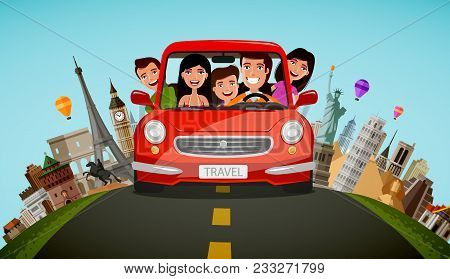 Happy Family Rides In Car On Vacation. Journey, Travel Concept. Cartoon Vector