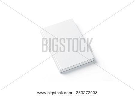Blank White Hard Cover Book Mock Up, Top View From The Side. Empty Notebook Hardcover Mockup, Isolat