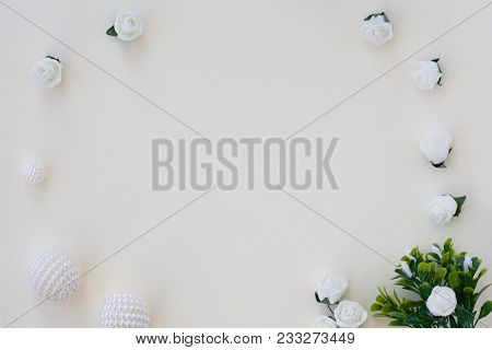 Styled Stock Photo. Feminine Wedding Desktop Mockup. White Roses, Satin Ribbon, Beads On Delicate Be